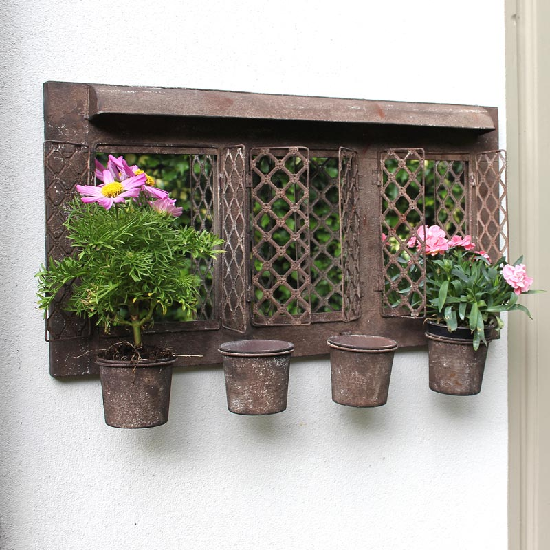 Rustic Metal Garden Mirror with Four Planters