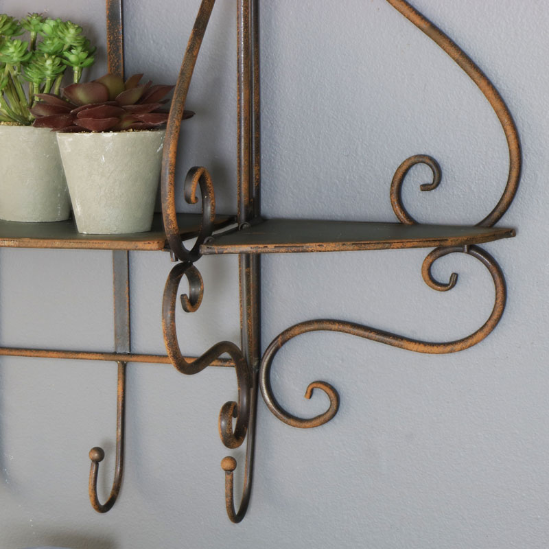 Rustic Metal Industrial Wall Mountable Shelves with Hooks