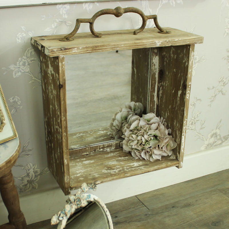Rustic mirrored box wall shelf melody maison for Mirrored box shelves