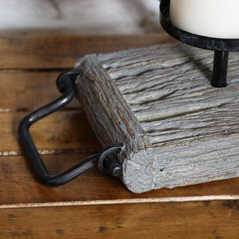 Rustic Pillar Candle Holder Stand