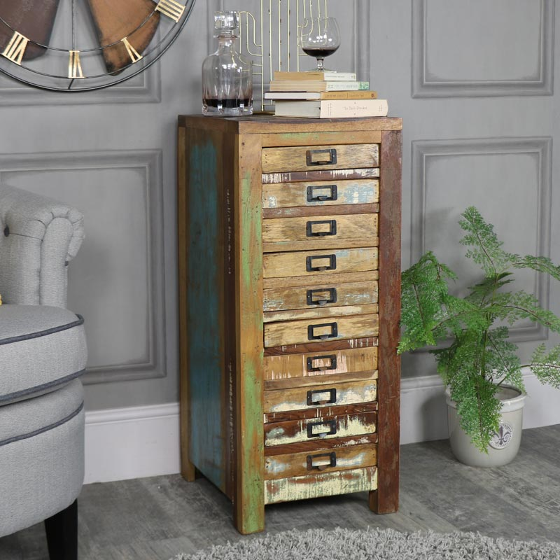Rustic Reclaimed Wood 10 Drawer Chest
