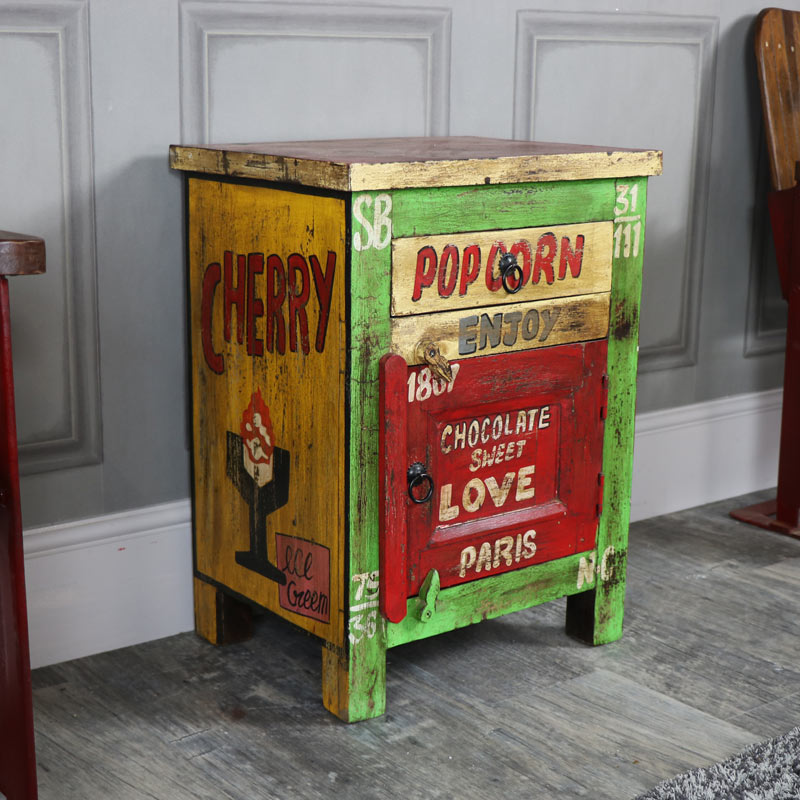 Rustic Retro Style Bedside Cabinet