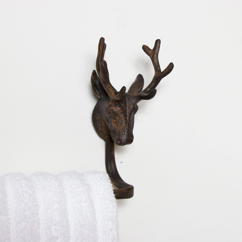 Rustic Stag Head Bathroom Towel Rail