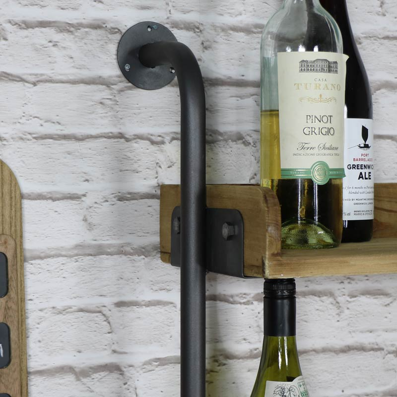 Rustic Wall Mounted Wine Bottle and Glass Rack