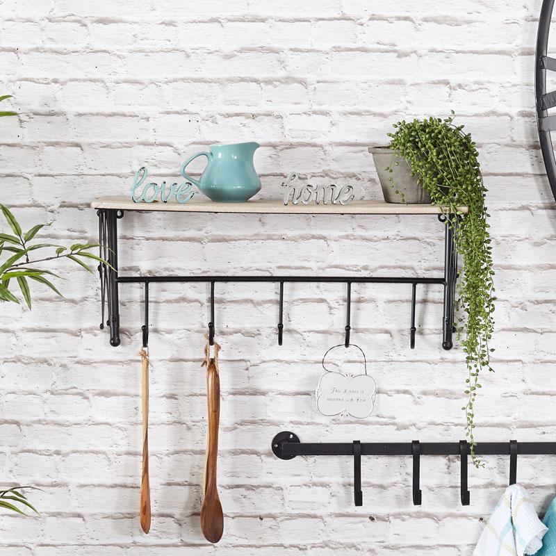 Rustic Wall Shelf with Hooks