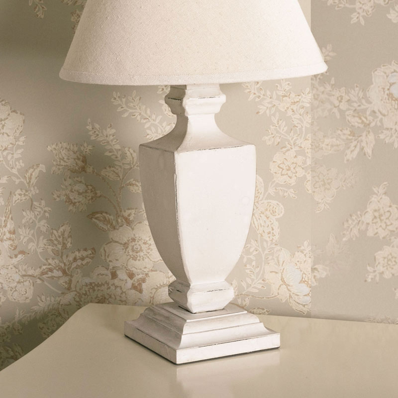 Rustic White Urn Style Bedside Lamp with Shade