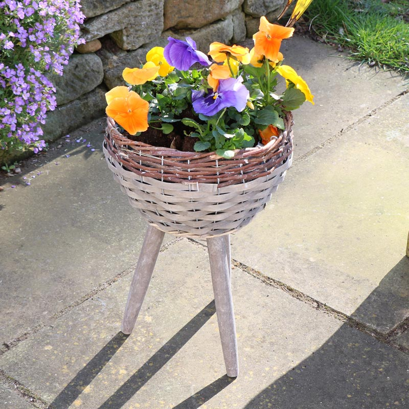 Rustic Willow Wicker Basket Plant Stand