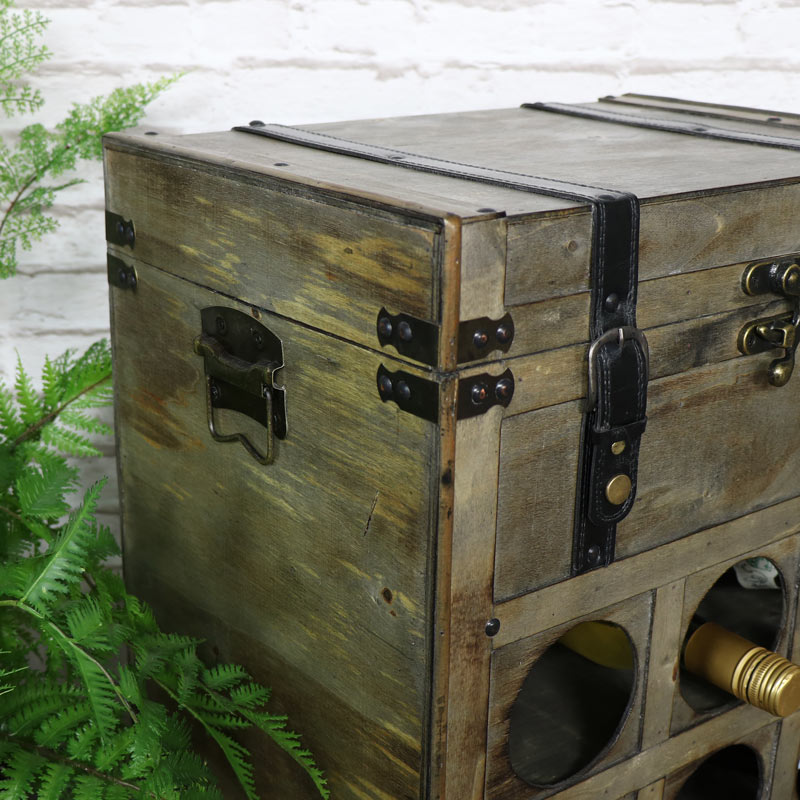 Rustic Wine Storage Trunk with Drawer