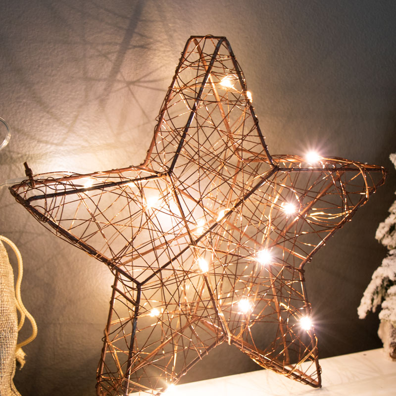 Rustic Wire LED Christmas Star