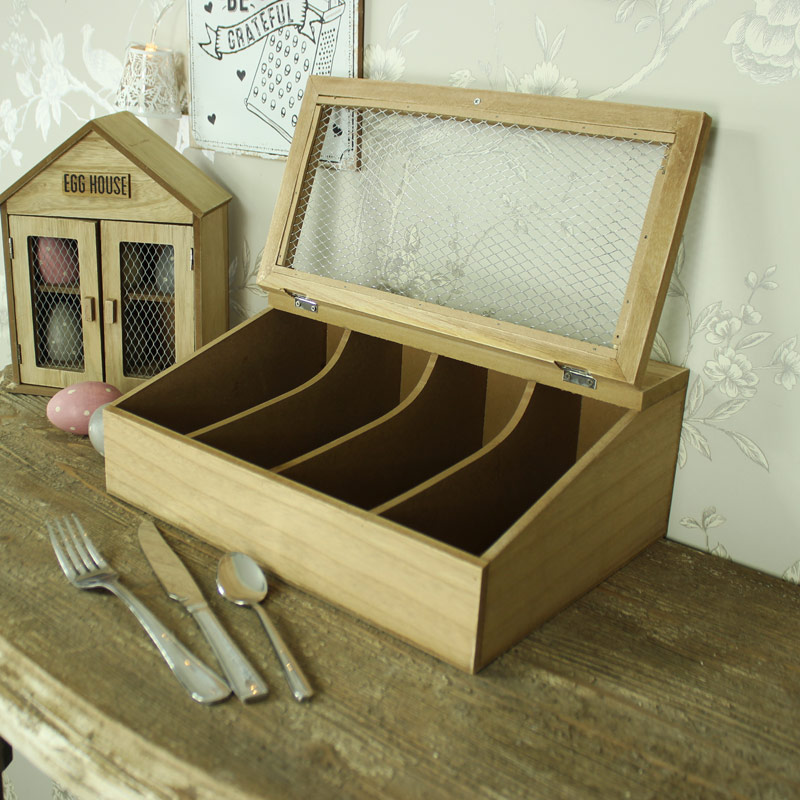 Rustic wooden kitchen cutlery utensils storage box holder for Cutlery storage with lid