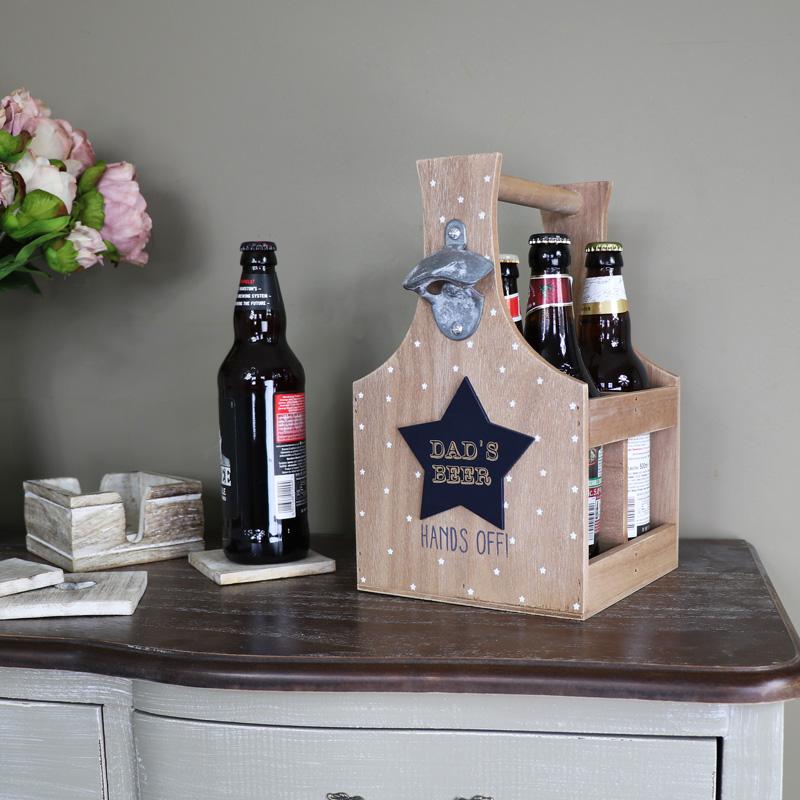 Rustic Wooden 'Dad's Beer' Wooden Bottle Holder Trug