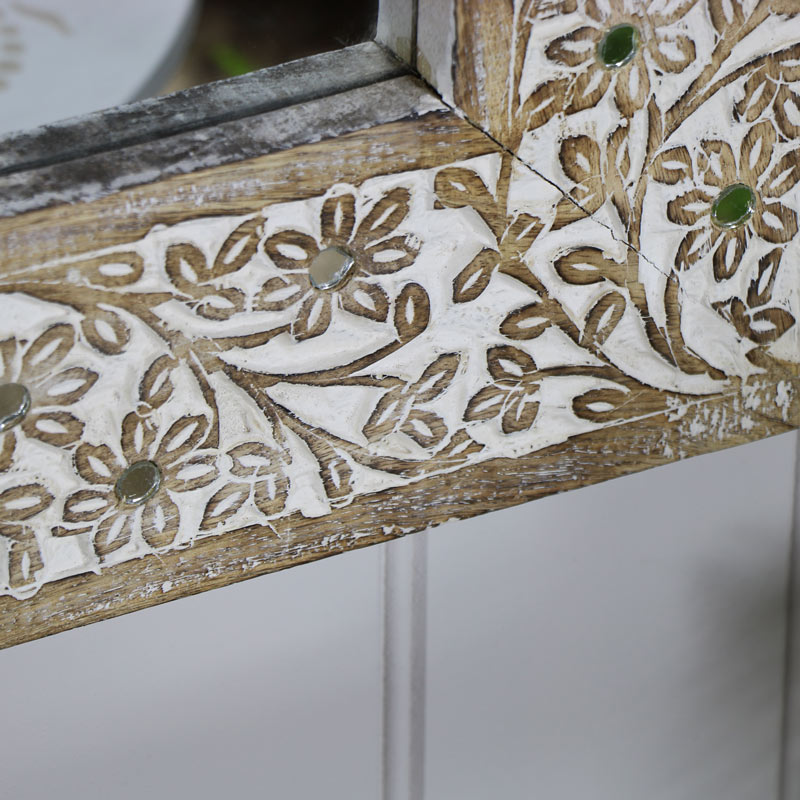 Rustic Wooden Floral Wall Mirror 49cm x 69cm