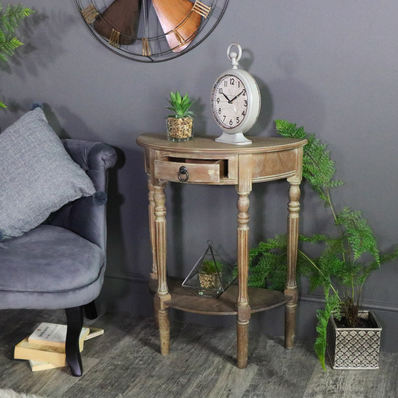 Rustic Wooden Half Moon Side Table