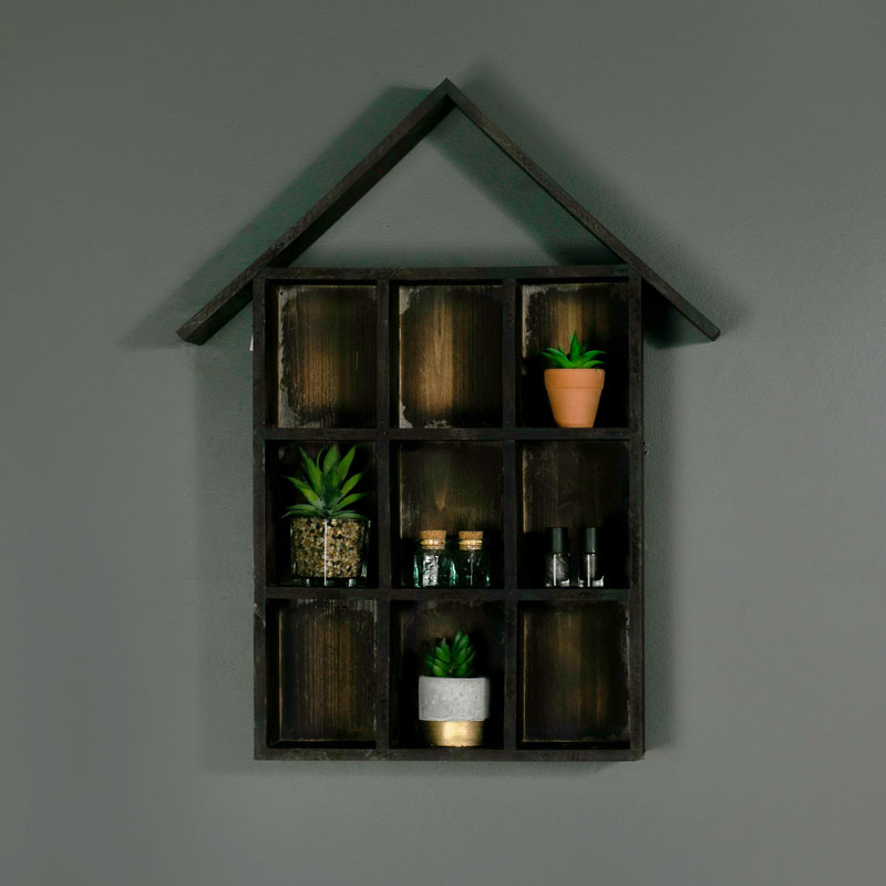 Rustic Wooden Pigeon Hole Wall Shelf
