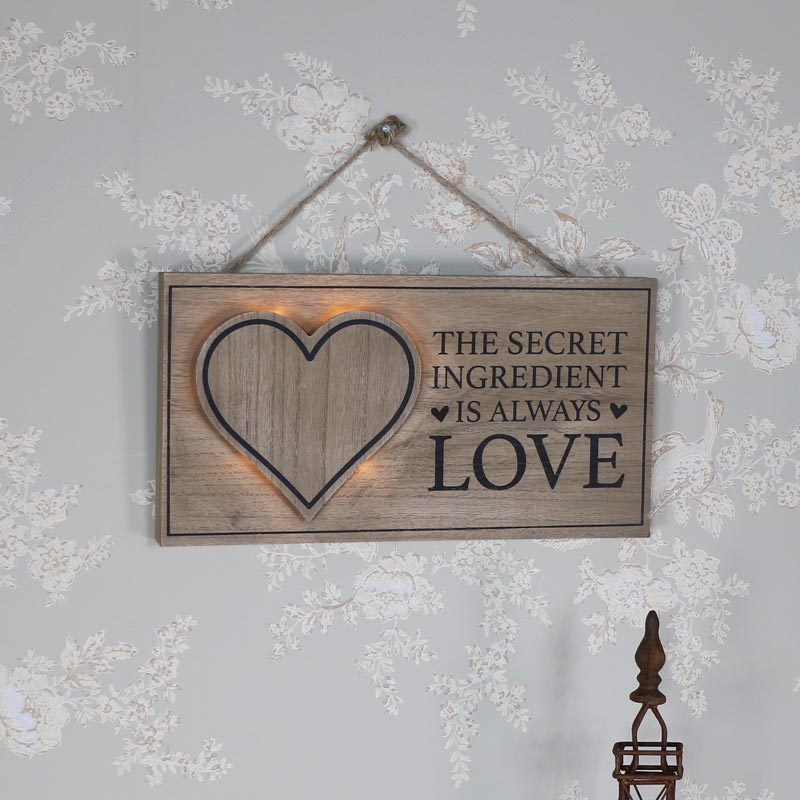 Rustic Wooden Wall Mounted LED Secret Ingredient Plaque