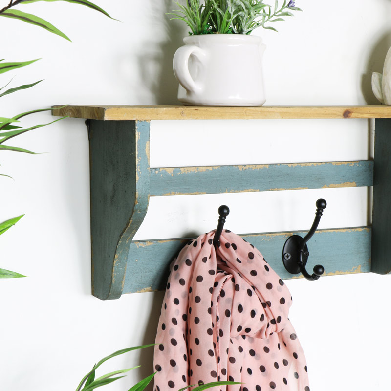 Rustic Wooden Wall Shelf with Coat Hooks