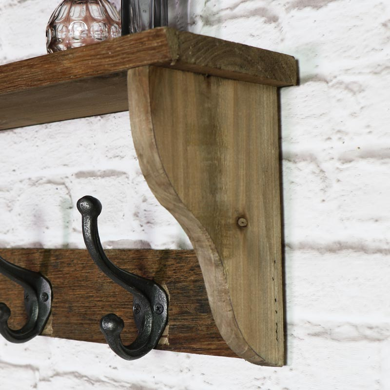 Rustic Wooden Wall Shelf with Hooks