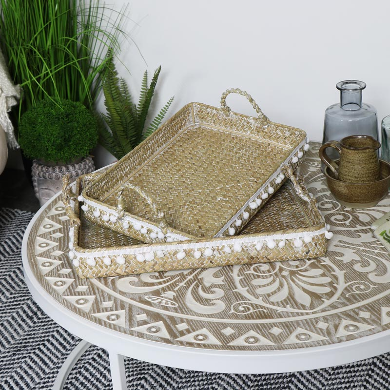 Set of 2 BoHo Woven Pom Pom Trays