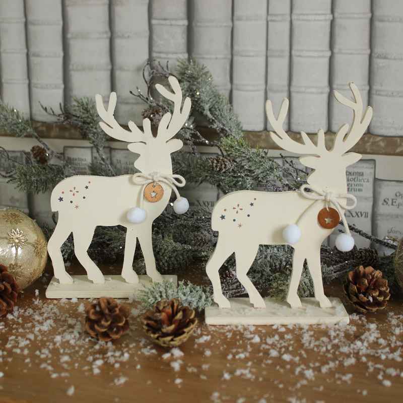 Set of 2 Cream Wooden Christmas Reindeer
