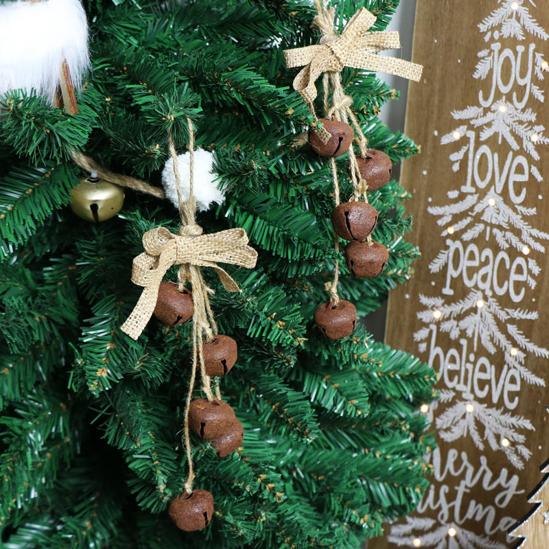 Set of 2 Rustic Hanging Jingle Bell Tree Ornaments