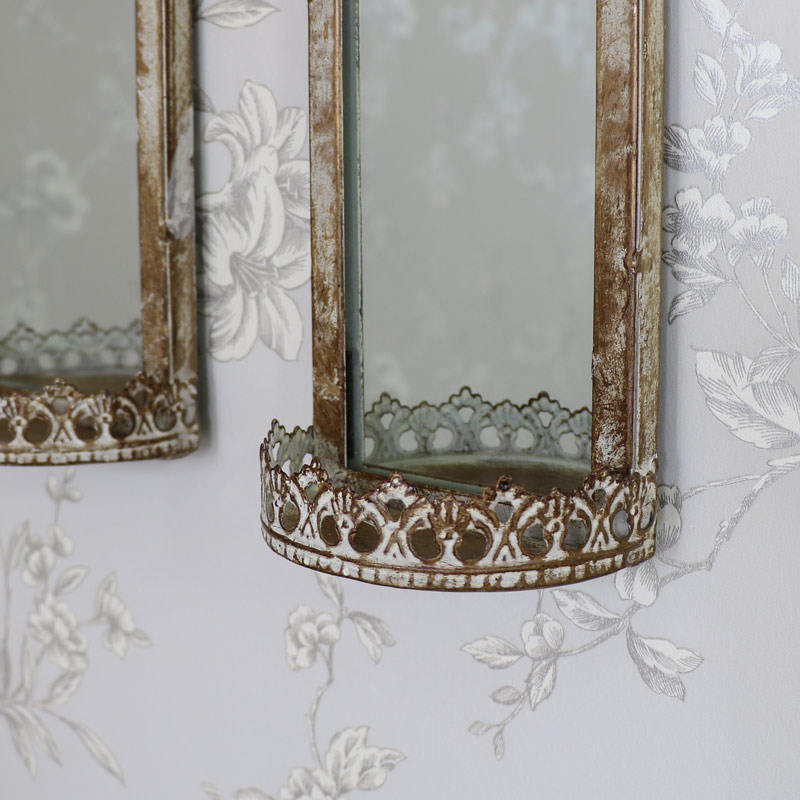 Set of 2 Vintage Wall Hanging Mirrors with Shelf