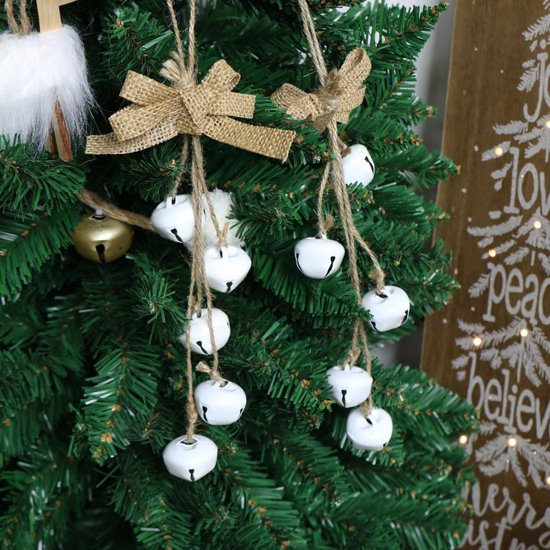 Set of 2 White Hanging Jingle Bell Tree Ornaments