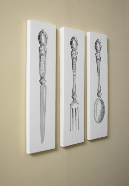 Set of 3 white knife folk spoon cutlery canvas kitchen for Ebay dining room wall art