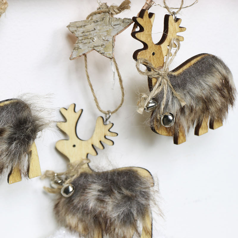 Set of 3 Christmas Reindeer Tree Ornaments