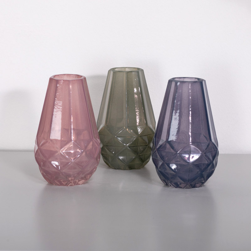 Pink, Grey & Purple Glass Bud Vase Set