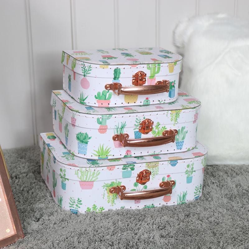 Set of 3 Decorative Cactus Suitcases