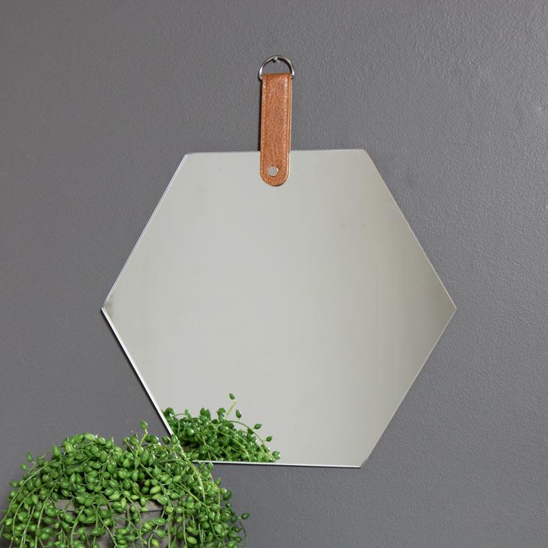 Set of 3 Frameless Hexagon Wall Mirrors