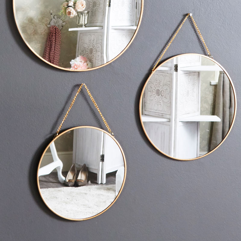 Set of 3 Gold Framed Circle Mirrors