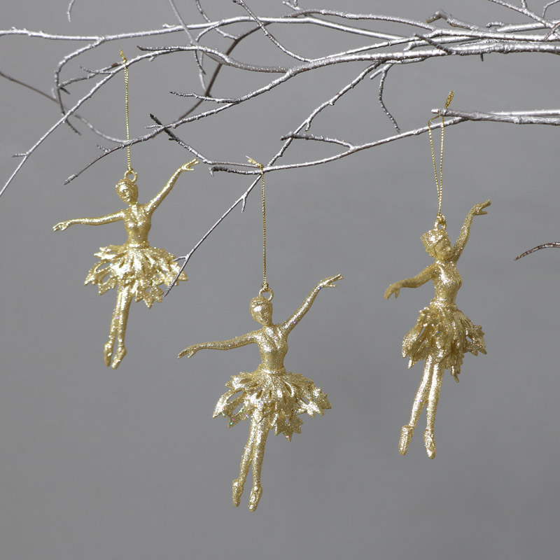 Set of 3 Golden Dancing Ballerina Tree Ornaments