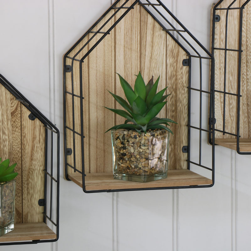 Set of 3 House Shape Wall Shelves