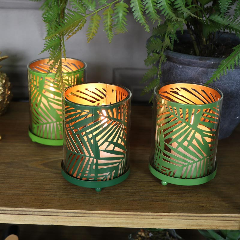 Set of 3 Palm Leaf Glass Candle Holders