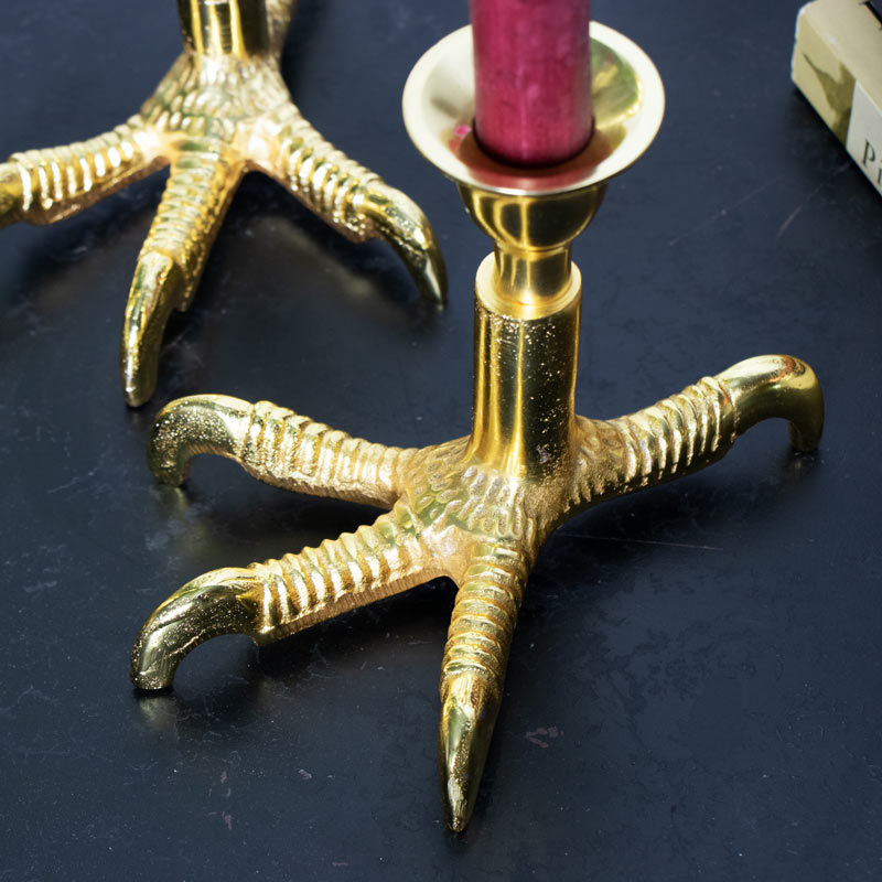 Set of 3 Polished Gold Bird Feet Candlesticks