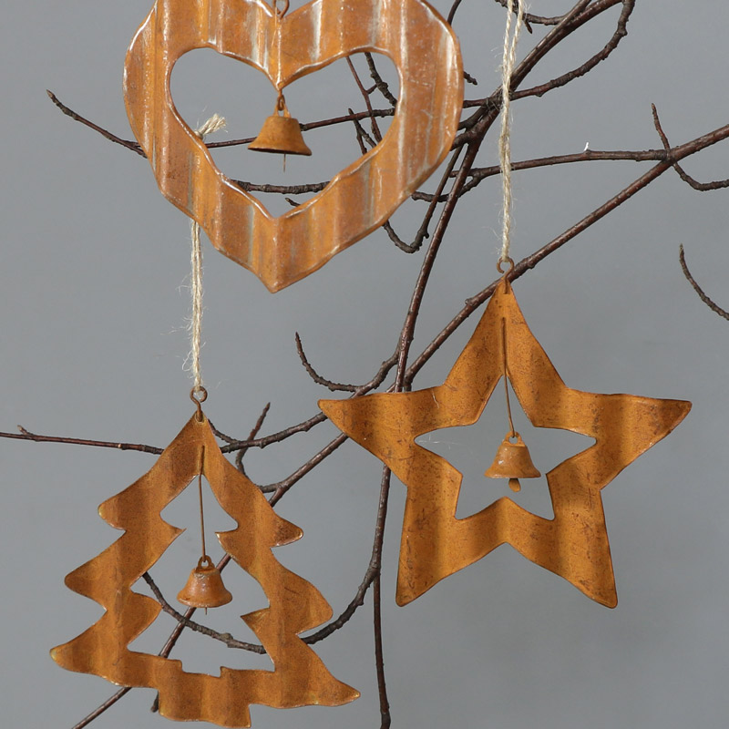 Set of 3 Rustic Christmas Tree Ornaments