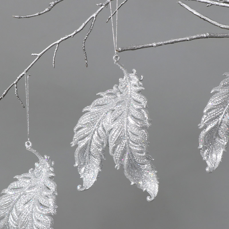 Set of 3 Silver Feather Christmas Tree Ornaments