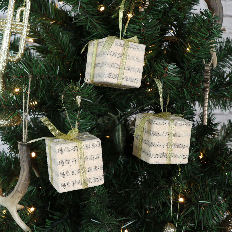 Set Of 3 Vintage Christmas Present Hanging Tree Decorations With Gold  Ribbon ...