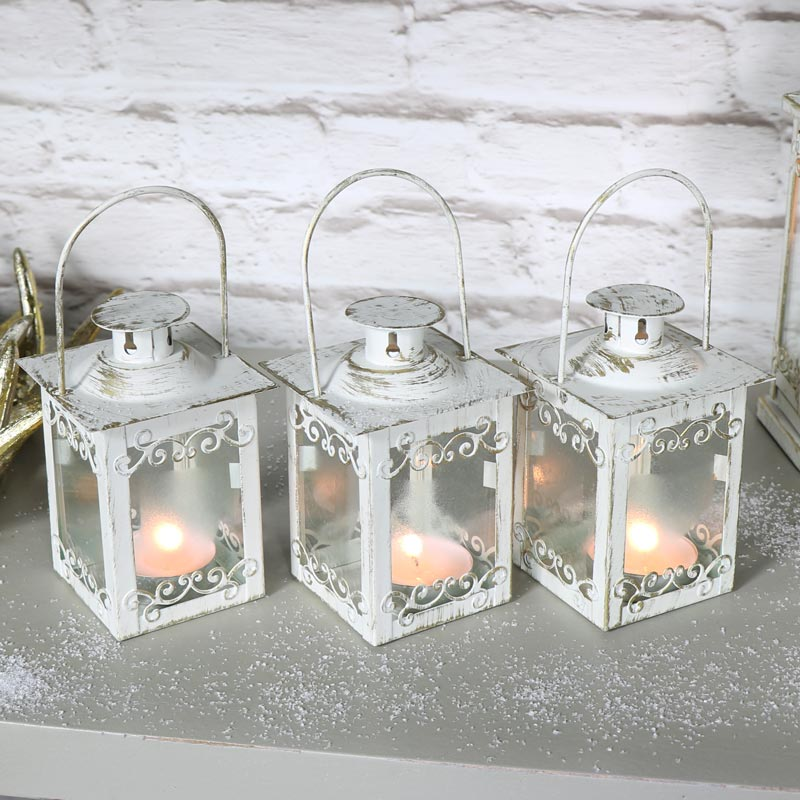 Set of 3 White and Gold Lanterns