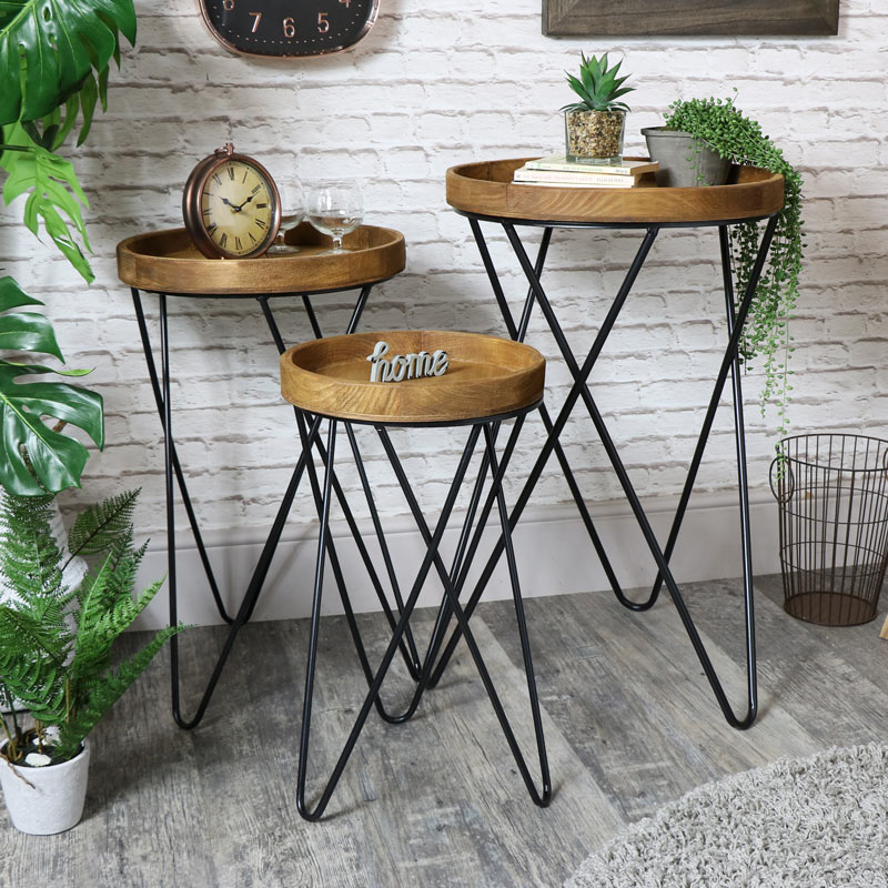 Set of Rustic Round Wooden Side / Occasional Tables
