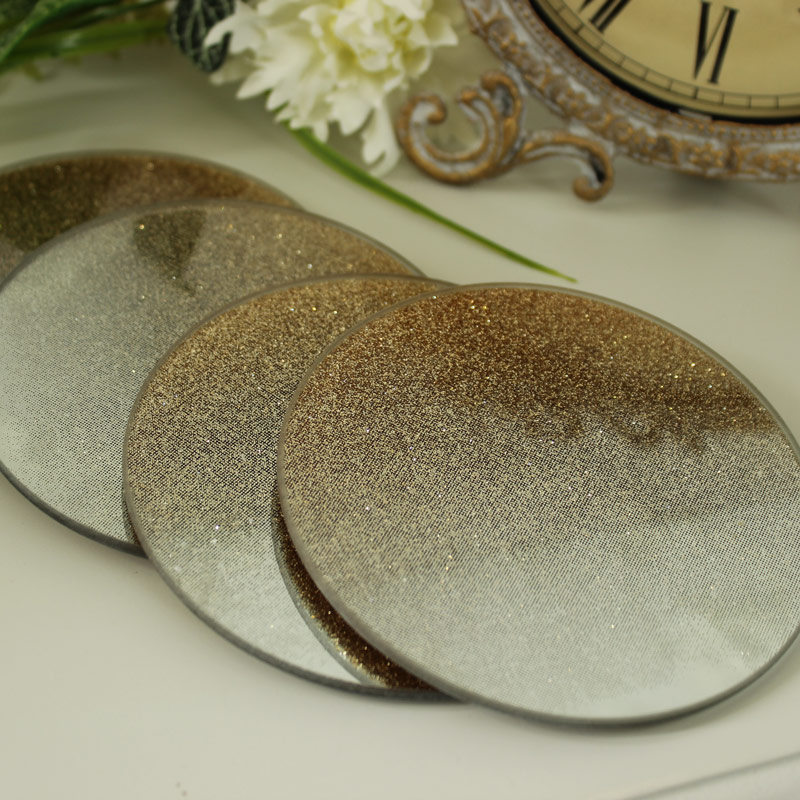 Set of 4 Gold Glitter Mirrored Coasters