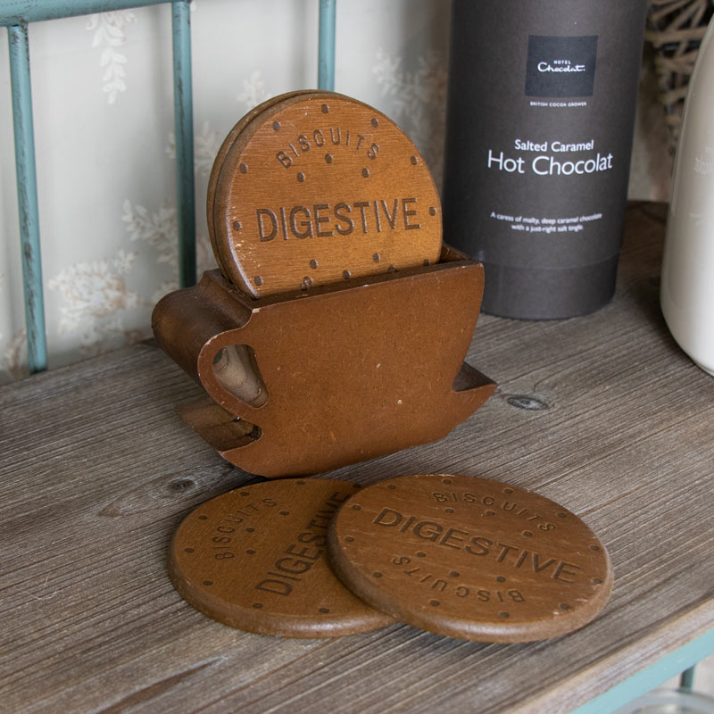 Set of 4 Wooden Biscuit Coasters
