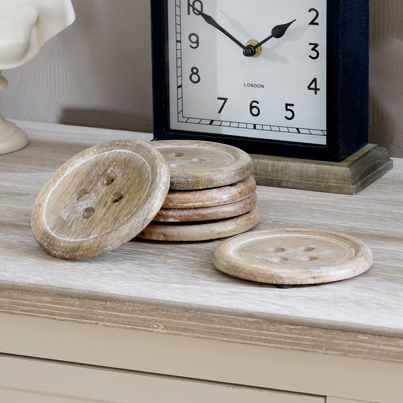 Set of Six Wooden Button Coasters