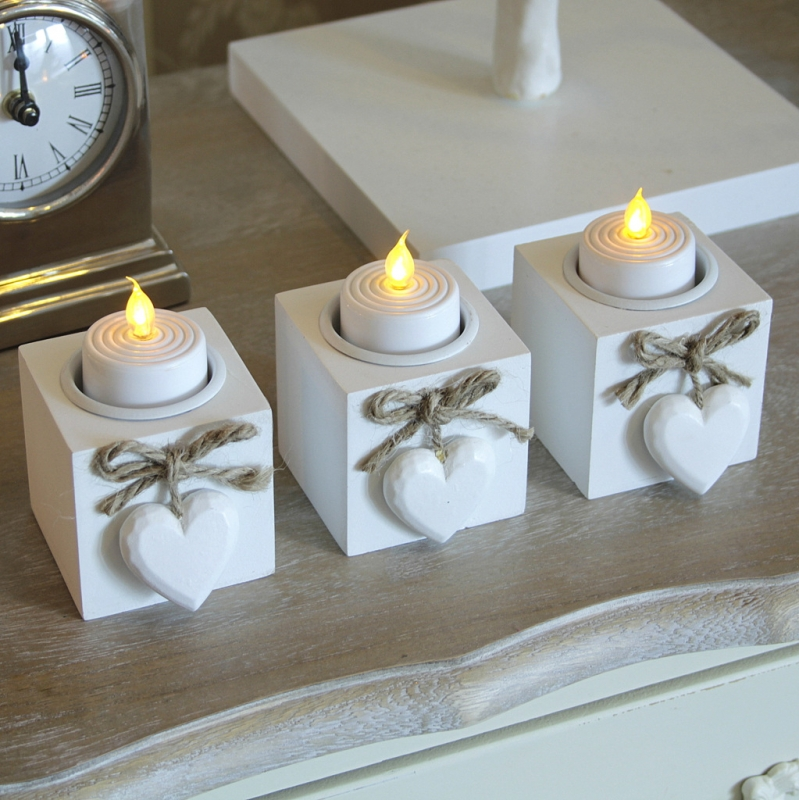Set Of Three Wooden White Heart Tea Light Candle Holder