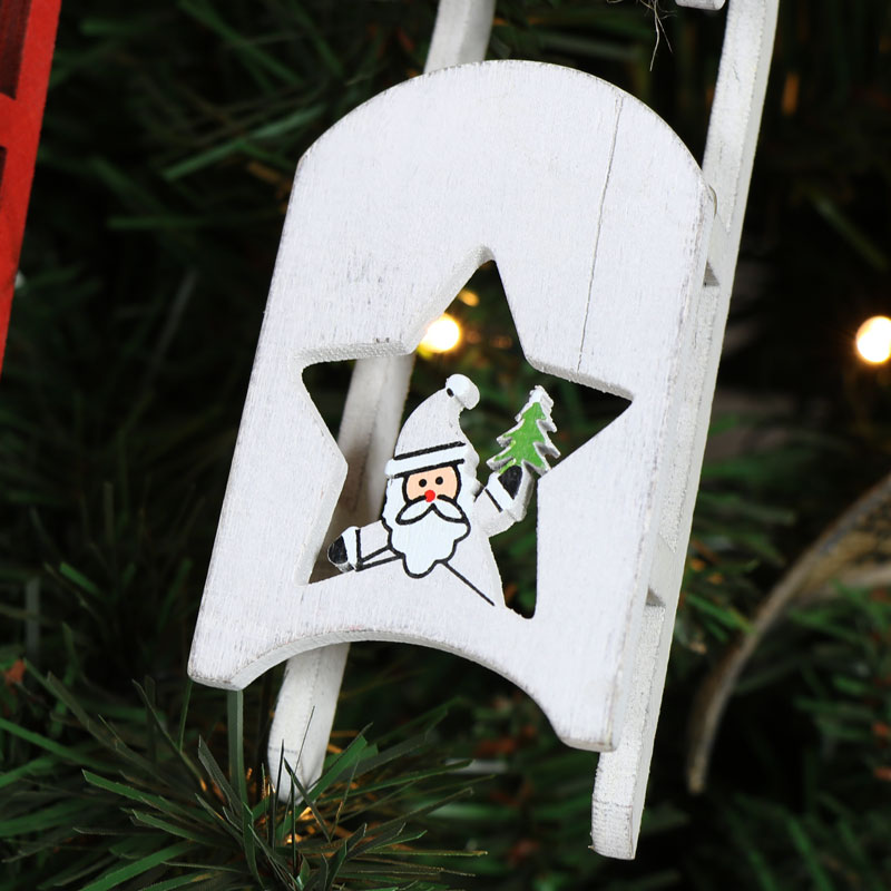 Set of two Hanging Christmas Sleigh Decorations