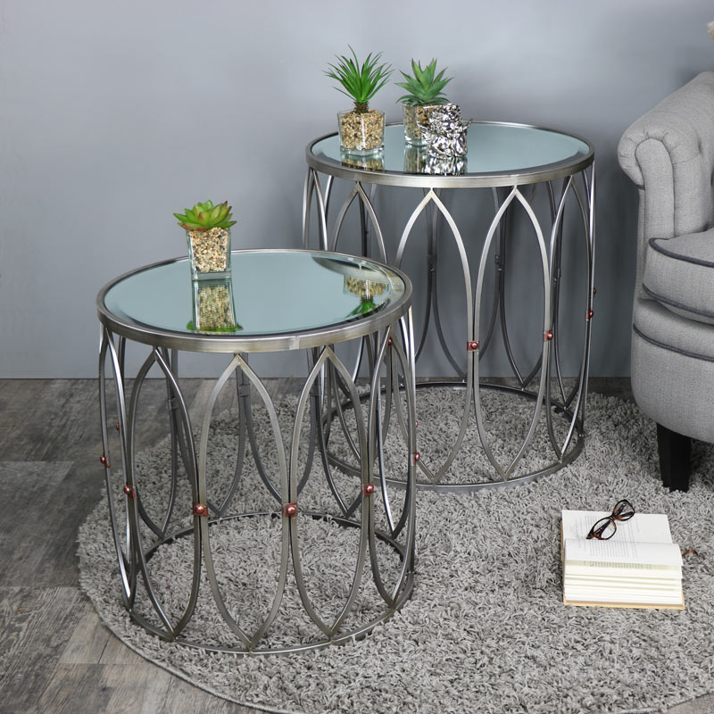 Set Of Two Ornate Silver Mirrored Side Table with Copper Stud