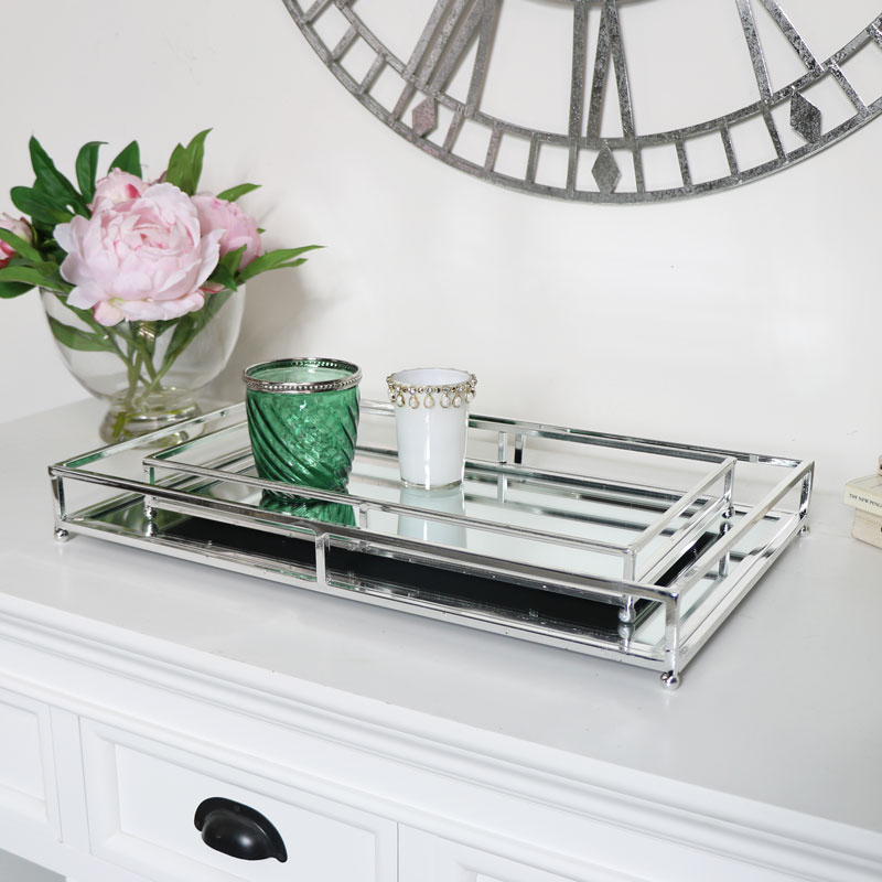 Set Of Two Silver Mirrored Trays, Silver Mirror Tray Decor