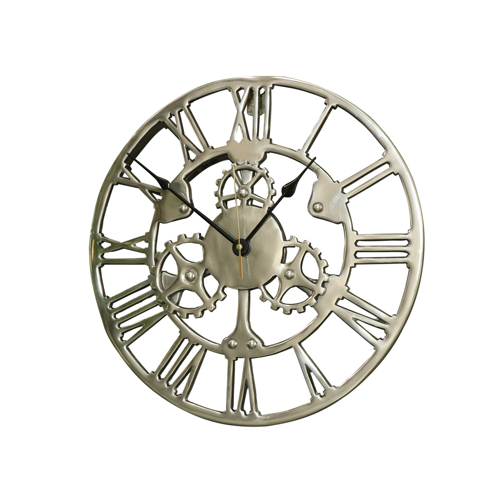 Large Shiny Silver Cog Skeleton Wall Clock