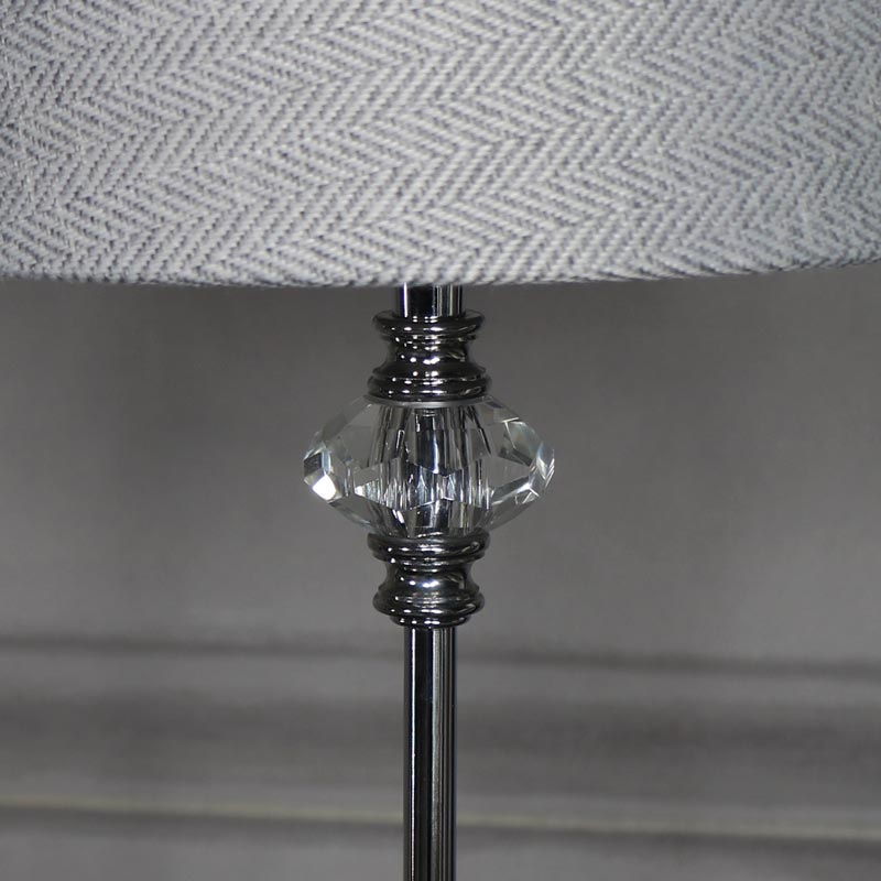 Silver chrome table lamp with tweed shade melody maison silver chrome table lamp with tweed shade aloadofball Images